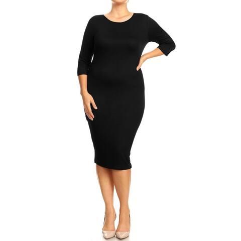 Women's Solid Plus Size Bodycon Midi Dress