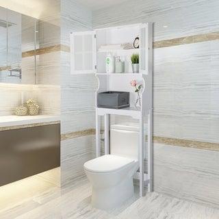 Kinbor Bathroom Shelf Over the Toilet, Bathroom Spacesaver, Bathroom Storage Cabinet Organizer for Laundry Room