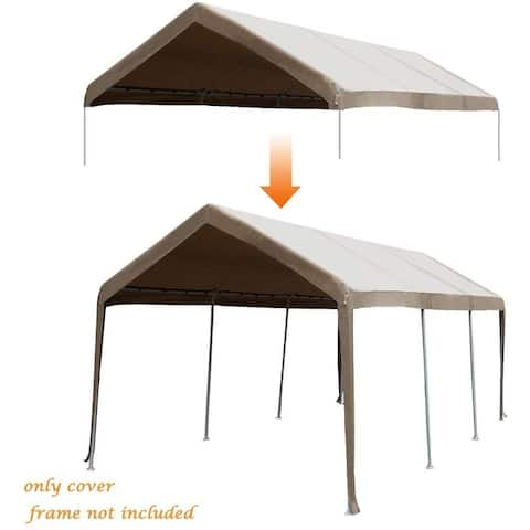 Abba Patio 10 x 20ft Carport Replacement Top Cover, Garage Shelter with Ball Bungees,Beige (Only Cover, Frame is not Included)