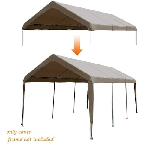 Abba Patio 10 x 20ft Carport Replacement Top Cover, Garage Shelter with Ball Bungees,Brown (Only Cover, Frame not Included)