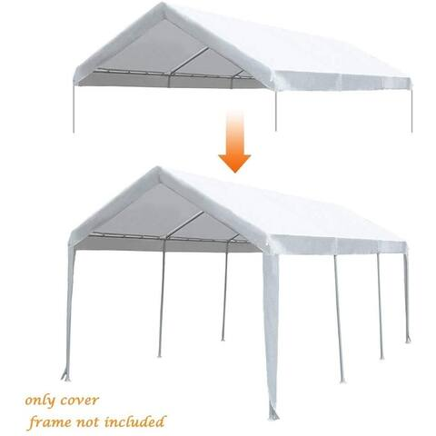 Abba Patio 10 x 20ft Carport Replacement Top Cover, Garage Shelter with Ball Bungees,White (Only Cover, Frame is not Included)