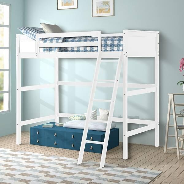 Merax Panel Style Solid Wood Loft Bed