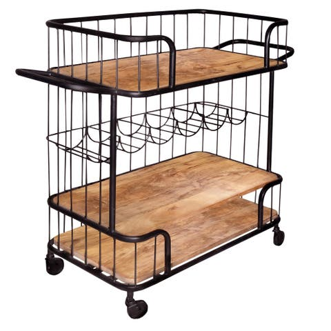Metal Frame Bar Cart with Wooden Top and 2 Shelves, Black and Brown