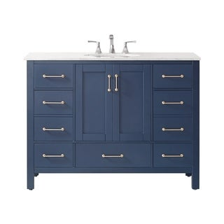"Gela 48"" Single Vanity in Royal Blue with Carrara White Marble Countertop Without Mirror"