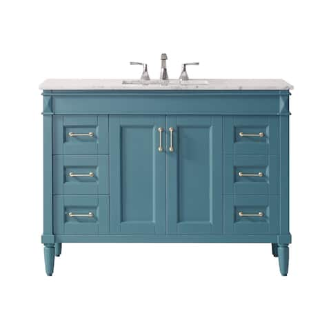 "Catania 48"" Vanity in RoyalGreen with Carrara White Marble Countertop Without Mirror"