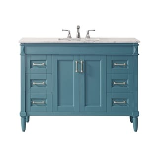 "Catania 48"" Vanity in Royal Green with Carrara White Marble Countertop Without Mirror"