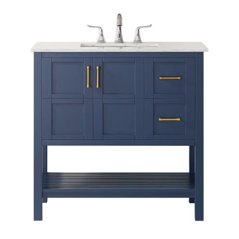 """Florence 36"""" Vanity in Royal Blue with Carrara White Marble Countertop Without Mirror"""