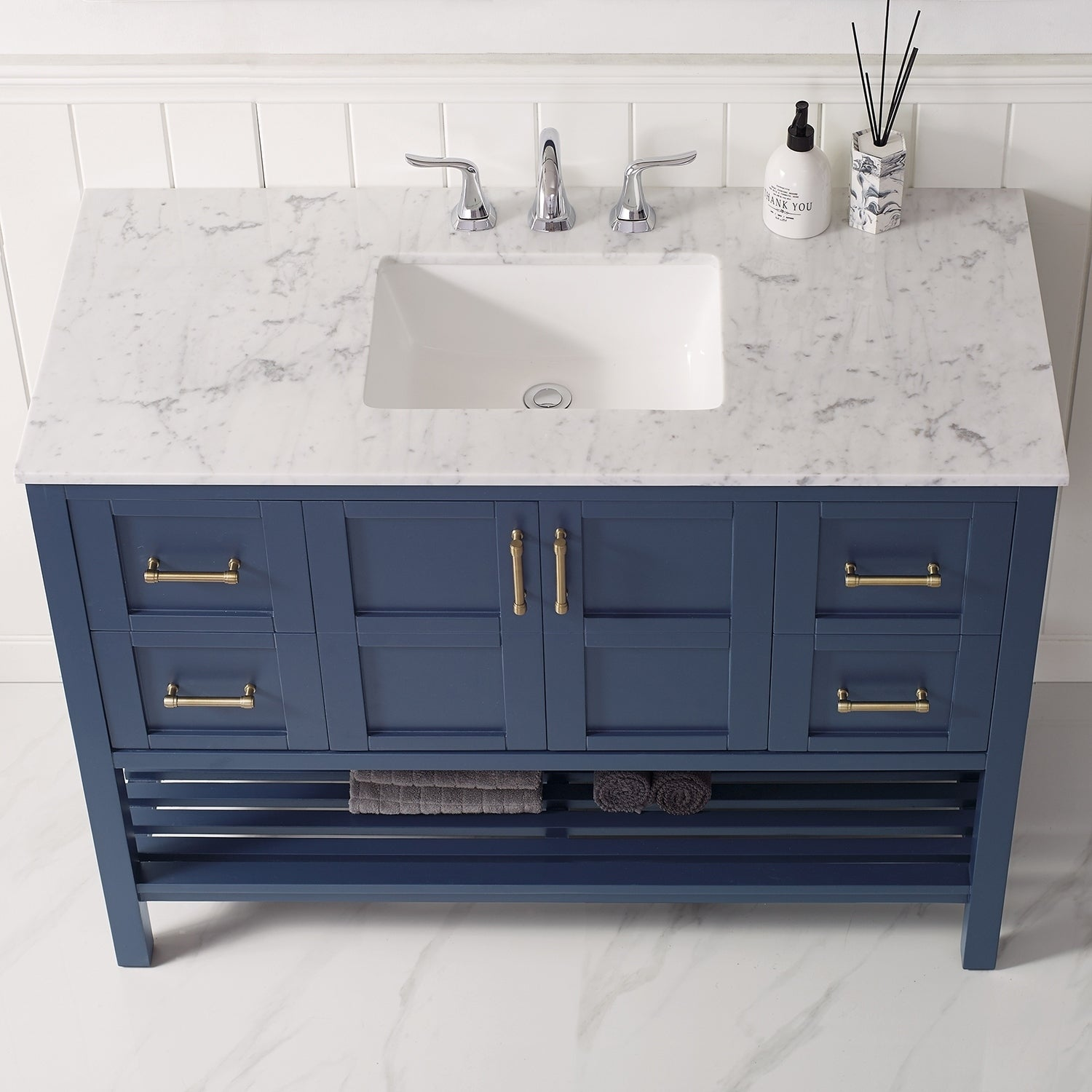 Florence 48 Inch Royal Blue Whit Marble Countertop Vanity Overstock 30617574