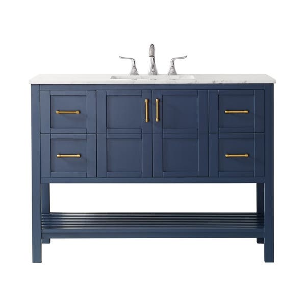 Florence 48 Inch Royal Blue Whit Marble Countertop Vanity On Sale Overstock 30617574