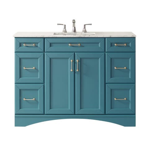 "Naples 48"" Vanity in RoyalGreen with Carrara White Marble Countertop Without Mirror"