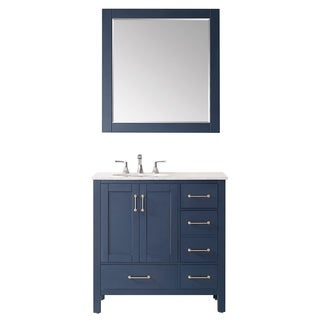 "Gela 36"" Single Vanity in Royal Blue with Carrara White Marble Countertop With Mirror"