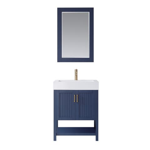 "Pavia 28"" Single Vanity in RoyalBlue with Acrylic under-mount Sink With Mirror"
