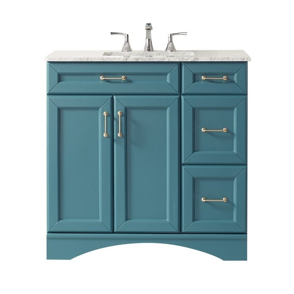 """Naples 36"""" Vanity in RoyalGreen with Carrara White Marble Countertop Without Mirror"""