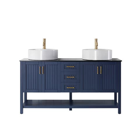 """Modena 60"""" Double Vanity in RoyalBlue with Glass Countertop with White Vessel Sink Without Mirror"""