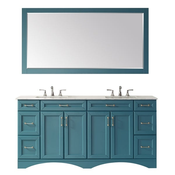 """Naples 72"""" Vanity in RoyalGreen with Carrara White Marble Countertop With Mirror"""