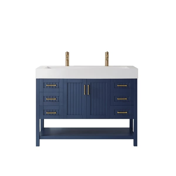 "Pavia 48"" Single Vanity in Royal Blue with Acrylic under-mount Sink Without Mirror"