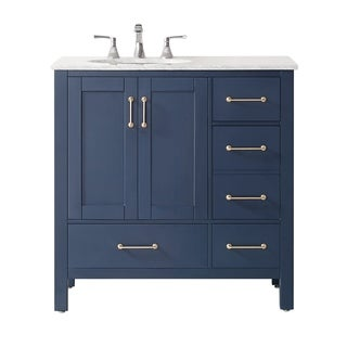 "Gela 36"" Single Vanity in Royal Blue with Carrara White Marble Countertop Without Mirror"