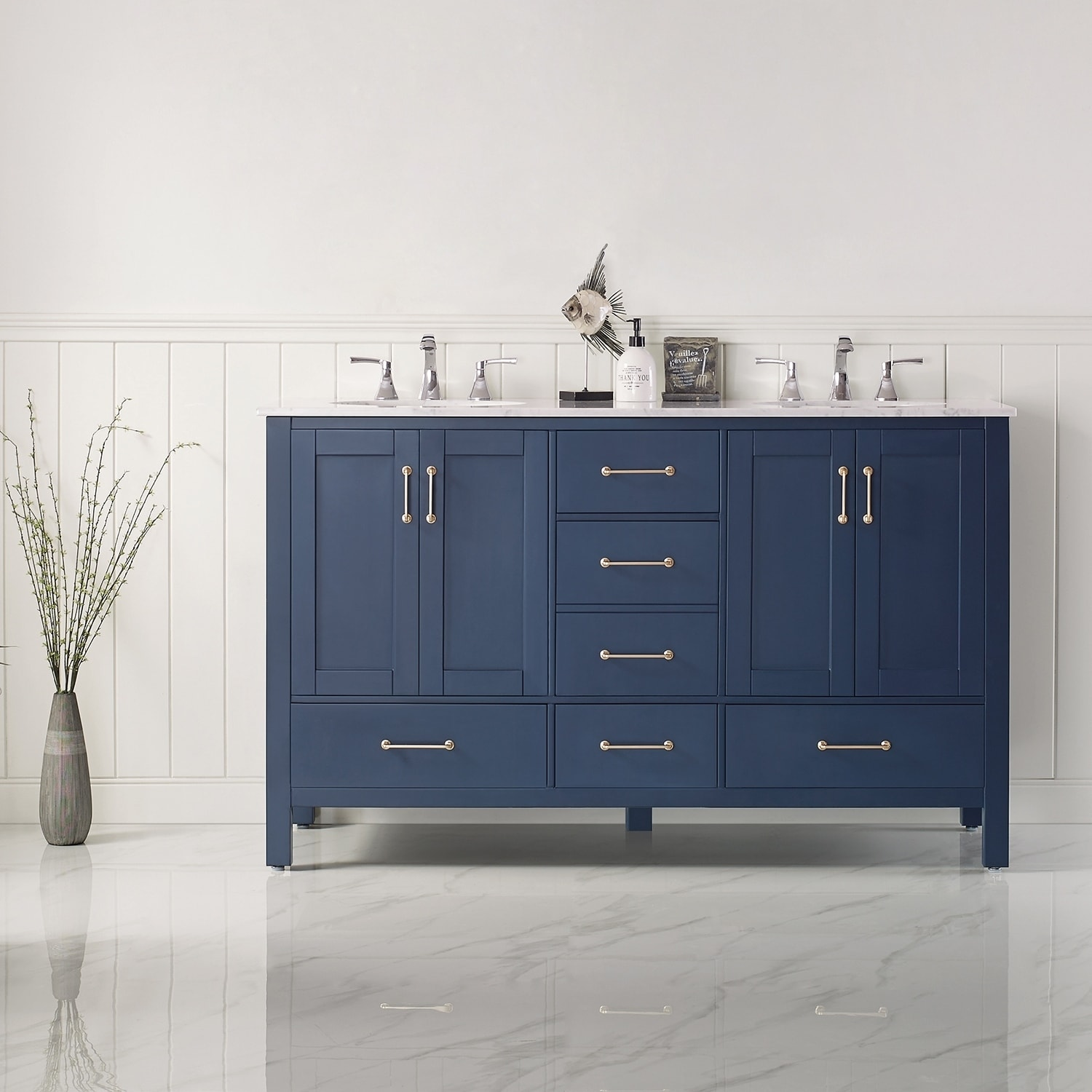 Gela 60 Double Vanity In Royal Blue With Carrara White Marble Countertop Without Mirror Overstock 30617606