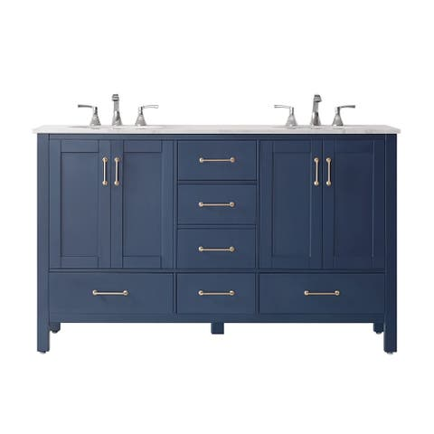 "Gale 60"" Double Vanity in Royal Blue with Carrara White Marble Countertop Without Mirror"