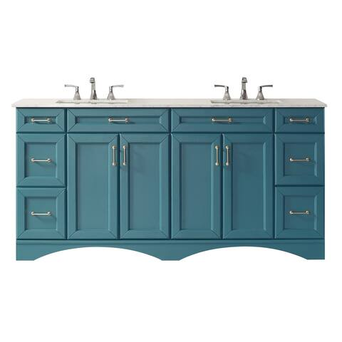 """Naples 72"""" Vanity in RoyalGreen with Carrara White Marble Countertop Without Mirror"""