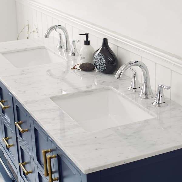 Florence 72 In Royal Blue Double Vanity W Carrara White Marble Counter On Sale Overstock 30617611