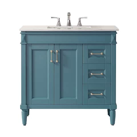 """Catania 36"""" Vanity in RoyalGreen with Carrara White Marble Countertop Without Mirror"""