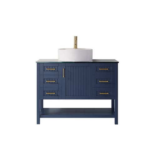 "Modena 42"" Vanity in RoyalBlue with Glass Countertop with White Vessel Sink Without Mirror"