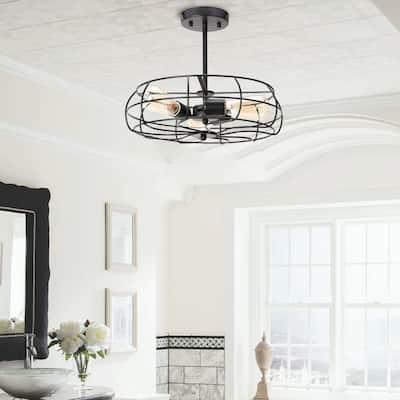 CO-Z 15 Inch Industrial 3-Light Semi Flush Mount Ceiling Light
