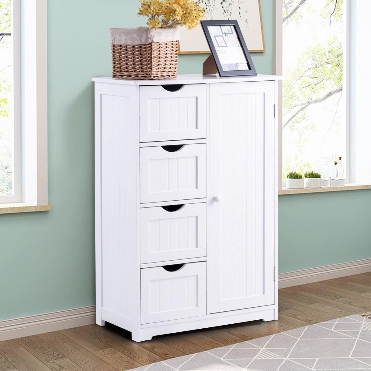 Lykos Floor Standing One Door One Drawer Bathroom Cabinet White Home Kitchen Bath