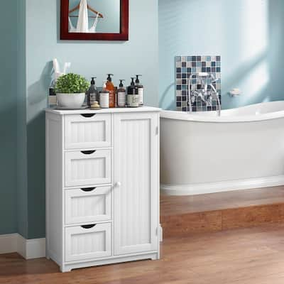 4-Drawer White Wooden Bathroom Cabinet Free Standing Cupboard