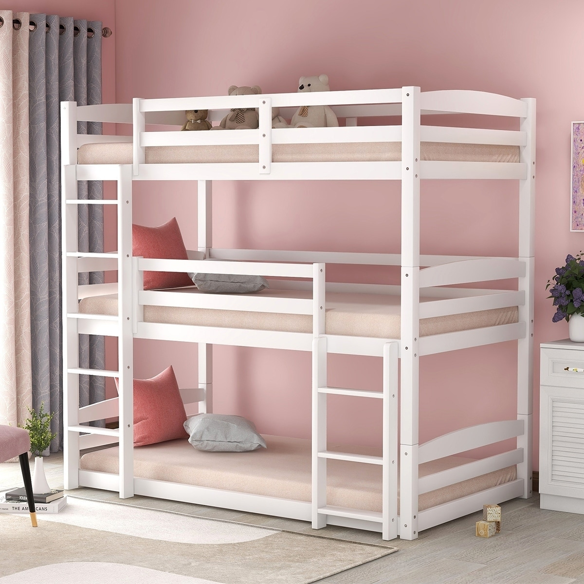 Picture of: Merax Wood Triple Bunk Beds With Built In Ladders Twin Overstock 30617901 Grey