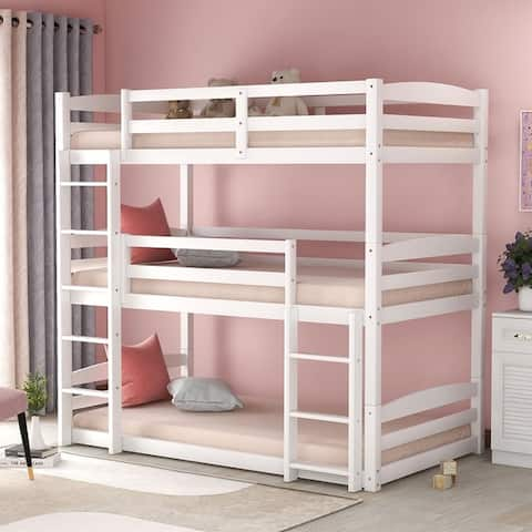 Merax Wood Triple Bunk Beds for Kids Toddlers Twin Size 3 Bunk Bed Frame with Built-in Ladders