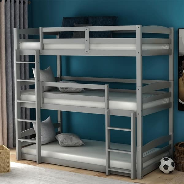 Merax Wood Triple Bunk Beds With Built In Ladders Twin On Sale Overstock 30617901 Grey