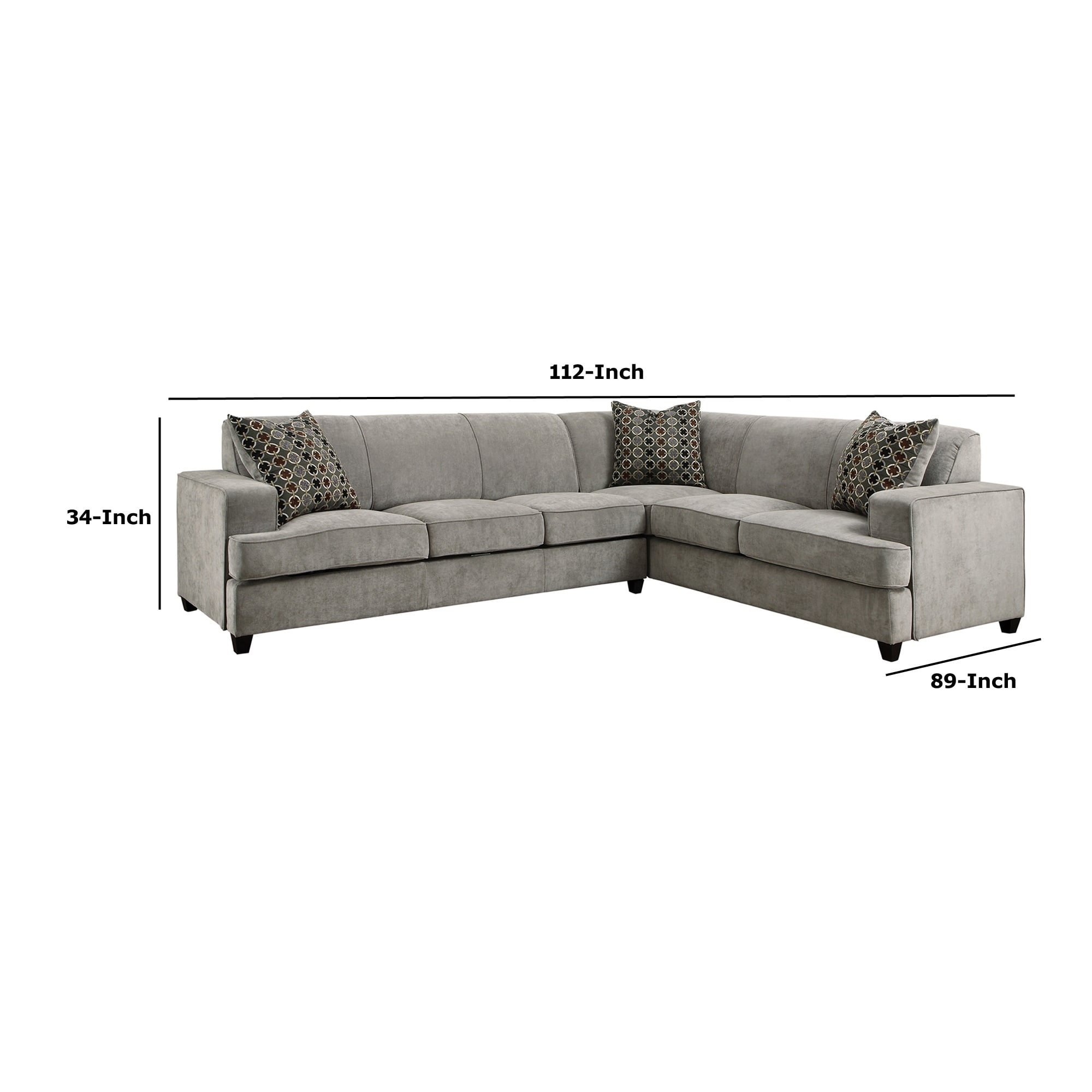 Shop Fabric Upholstered Queen Sleeper Sectional Wooden Sofa Gray