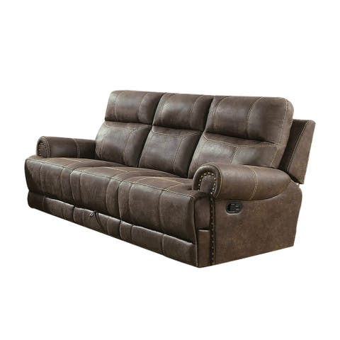Nailhead Trim Leatherette Recliner Sofa with Power Cord and USB Docks, Brown