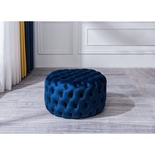 Round Ottoman with Soft Velvet Fabric Classic Button Tufted Design