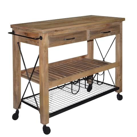 2 Drawer Wooden Bar Cart with 2 Shelves and Casters Support, Brown and Black
