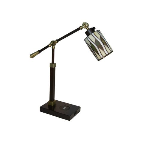 Reno Tiffany Accent Lamp with Wireless and USB Charger
