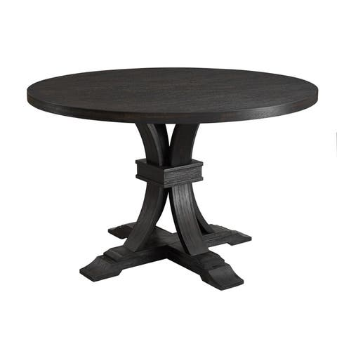 Siena Distressed Black Finish 5-Piece Dining set, Pedestal Round Table with 4 Chairs