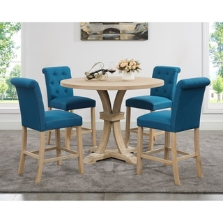 Link to Siena White-washed Finished 5-Piece Counter Height Dining set, Pedestal Round Table with 4 Chairs Similar Items in Dining Room & Bar Furniture