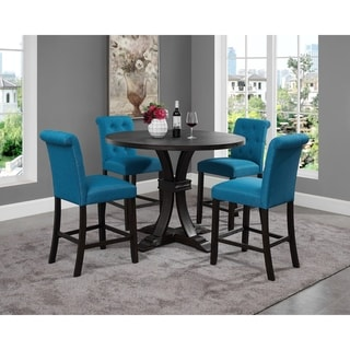 Siena Distressed Black Finish 5-Piece Counter Height Dining set, Pedestal Round Table with 4 Chairs
