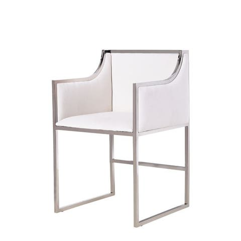 Bella Arm Chair in White Wool / Stainless Steel Chrome