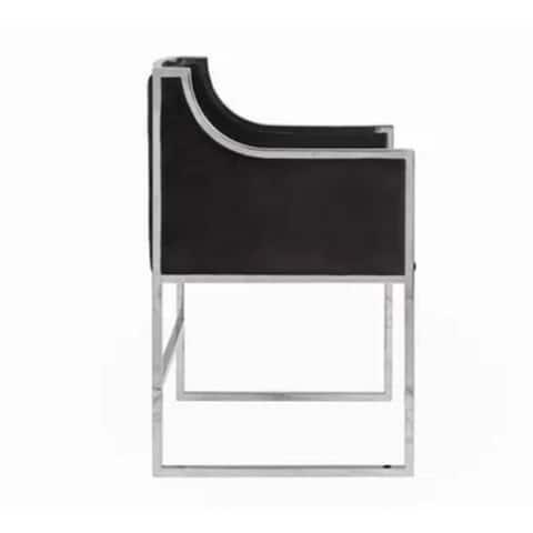Bella Arm Chair in Black Velvet / Stainless Steel Chrome