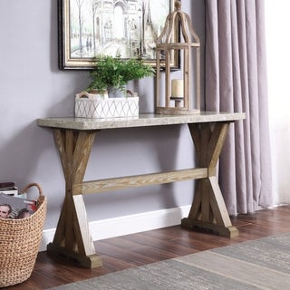 Furniture of America Zen Transitional Natural Marble Top Sofa Table