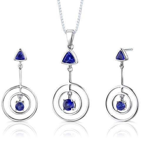 Oravo 2 ct Created Sapphire Pendant Earring Set Sterling Silver, 18""