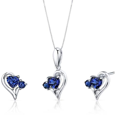 Oravo 2.25 ct Created Sapphire Pendant Earring Set Sterling Silver
