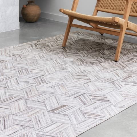 Alexander Home Davide 3-D Geometric Faux Cowhide Area Rug
