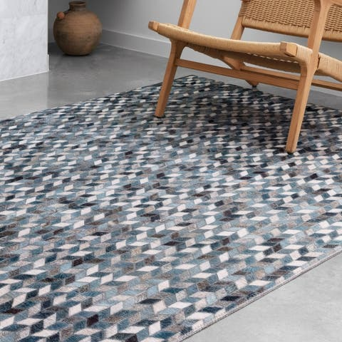 Alexander Home Davide Geometric Faux Cowhide Area Rug