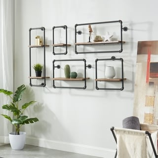 Link to Furniture of America Romi Sand Black Industrial Pipe Wall Shelf Similar Items in Accent Pieces