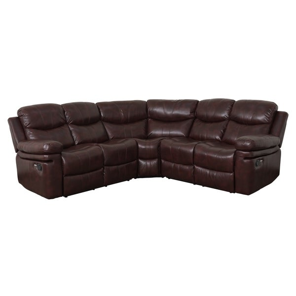 Brooklyn Sectional Sofa with USB Ports by Living Essentials (Vintage Wine)